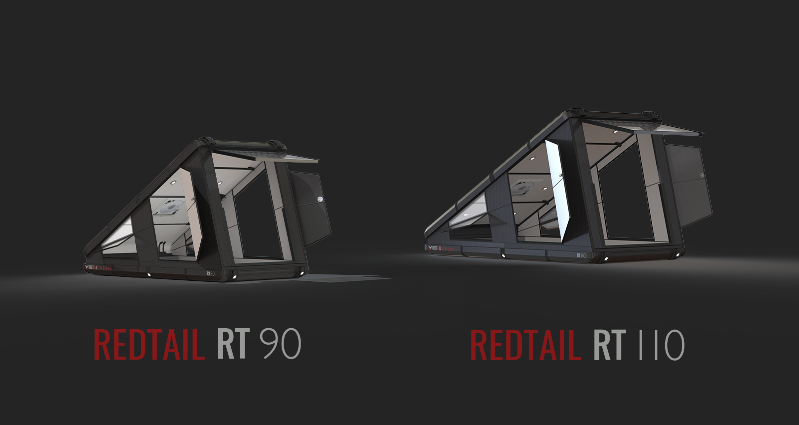 The Redtail Overland Hard Sided Roof Top Camper (RTC). The World's first hard-sided rooftop tent. Compare the Redtail 110 and Redtail 90.