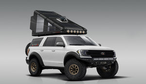 The Redtail Overland Hard Sided Roof Top Camper (RTC). The World's first hard-sided rooftop tent.