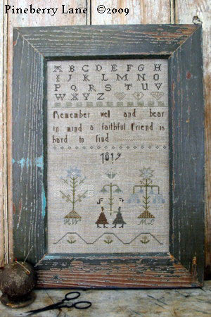 A Faithful Friend Primitive Sampler Cross Stitch | Pineberry Lane