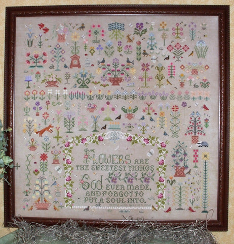 And A Garden Grew Reproduction Sampler Cross Stitch | Rosewood Manor