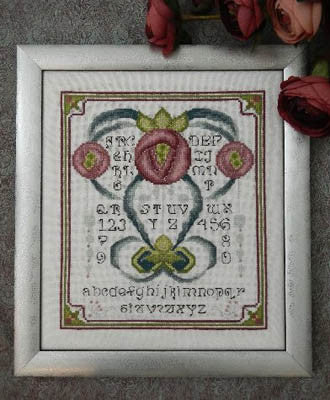 Art Nouveau Rose Sampler Cross Stitch | S-1165 | Rosewood Manor