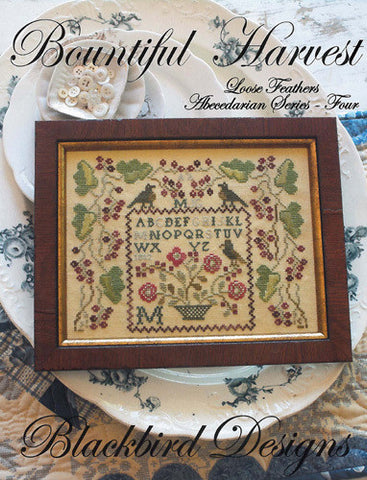 Bountiful Harvest | Loose Feathers | Abecedarian Series  #4| Cross Stitch | Blackbird Designs