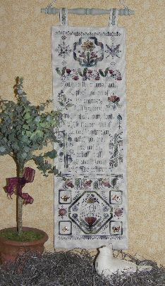 Flowers in the Crannied Wall Sampler Cross Stitch | C-010 | Rosewood Manor