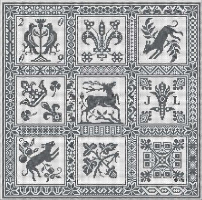 Carrelage Reproduction Sampler Cross Stitch | Long Dog Designs