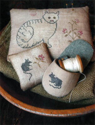 Cat & Mouse Pinkeep and Slipper | Cross Stitch | Stacy Nash Primitives