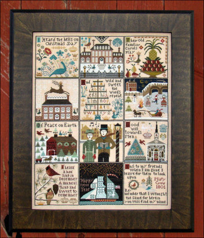 Christmas at Hawk Run Hollow Reproduction Sampler Cross Stitch | Carriage House