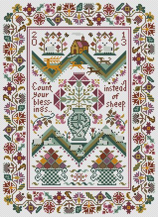 Count Your Blessings | Cross Stitch | Long Dog Samplers