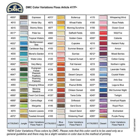 DMC Color Variations Floss | Color Range V4000-V4265