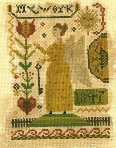 Fraktur Angel Sampler | Cross Stitch | Notforgotten Farm