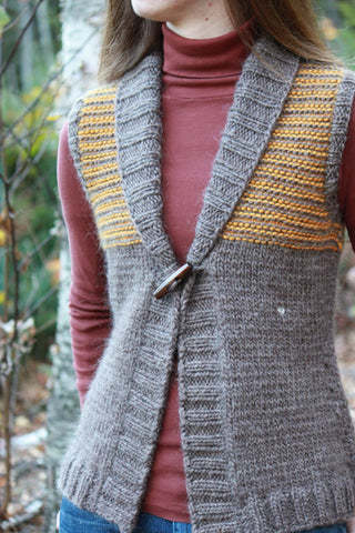 Freeport Shawl Collar Vest Knitting Pattern | The Brown Stitch