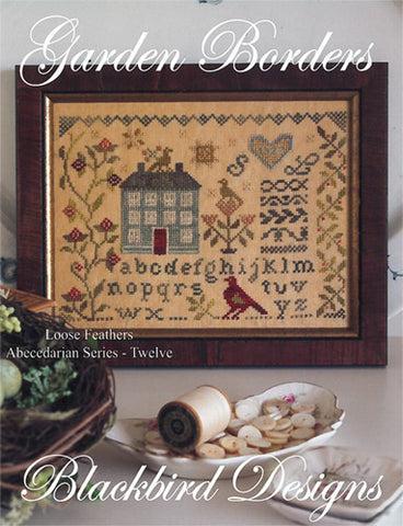 Garden Borders | Loose Feathers | Abecedarian Series  #12 | Cross Stitch | Blackbird Designs