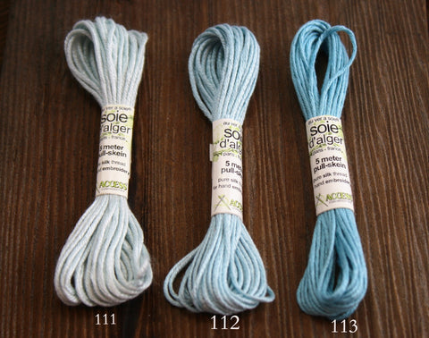 Soie d'Alger Silk Embroidery Floss Thread Colors 111, 112, 113