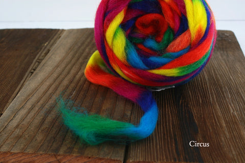 Northern Lights Painted Wool Pencil Roving Fiber | Louet