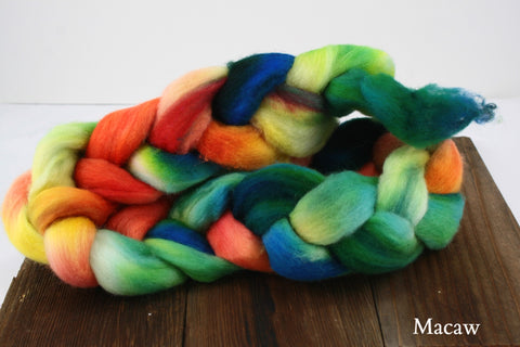 Falkland Hand Dyed Roving Fiber | Happy Fuzzy Yarn