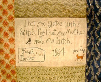 Josiah Turner's Primitive Sampler Cross Stitch | Notforgotten Farm
