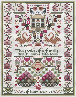 Love of Two Hearts | Cross Stitch | Long Dog Samplers
