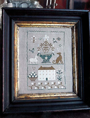 Old White Farm House Sampler | Cross Stitch Kit | Stacy Nash Primitives