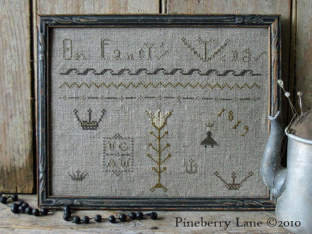 On Fancy's Wings Primitive Sampler Cross Stitch | Pineberry Lane