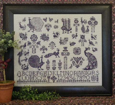 Peacocks & Posies Sampler Cross Stitch | S-1026 | Rosewood Manor