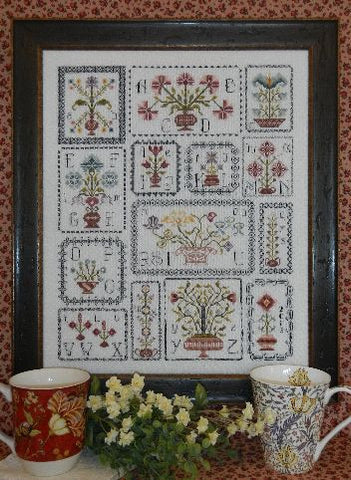 Pots of Flowers Sampler Cross Stitch | S-1027 | Rosewood Manor