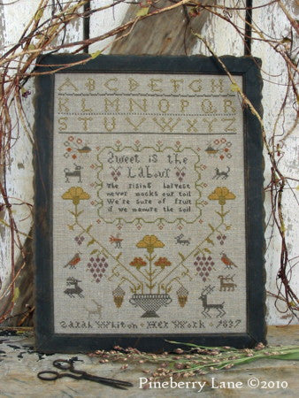 The Rising Harvest Primitive Sampler Cross Stitch | Pineberry Lane
