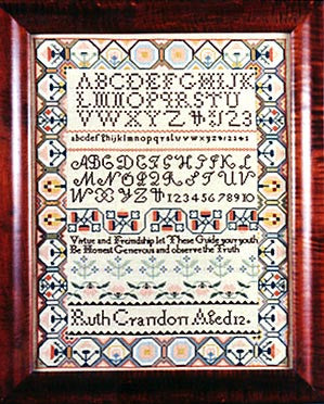 Ruth Crandon (1800) Sampler Cross Stitch | Scarlet Letter