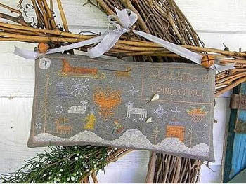Sledding in Connecticut Primitive Sampler Cross Stitch | Notforgotten Farm