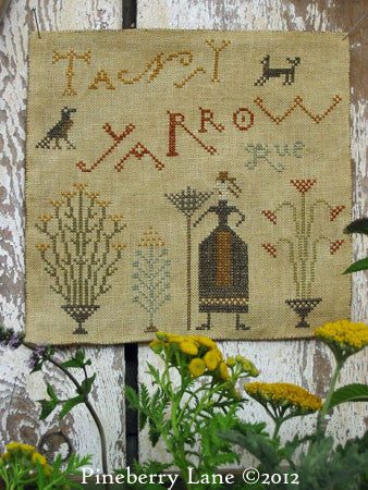 Tansy Yarrow Rue Primitive Sampler Cross Stitch | Pineberry Lane
