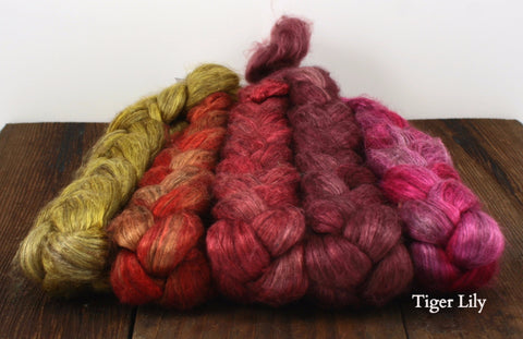 Yak and Silk Hand Dyed Bundles Spinning Fiber | Greenwood Fiberworks