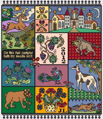 Watchers of the Dawn Reproduction Sampler Cross Stitch | Long Dog Designs
