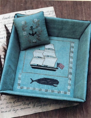 Whaling Ship Sewing Tray & Pinkeep | Cross Stitch | Stacy Nash Primitives