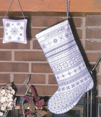 White Christmas Stocking Sampler Cross Stitch | Rosewood Manor