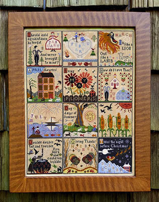 Year at Hawk Run Hollow Sampler  | Cross Stitch | Carriage House Samplings