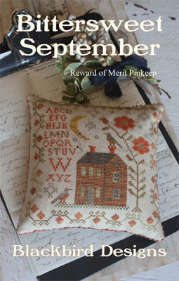 Bittersweet September | Reward of Merit Pinkeep Series | Cross Stitch | Blackbird Designs