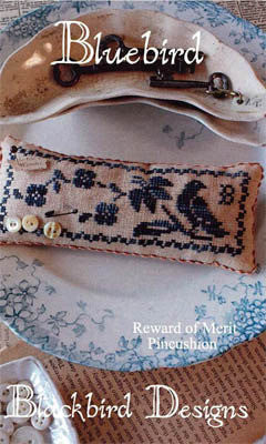 Bluebird | Reward of Merit Pincushion Series | Cross Stitch | Blackbird Designs