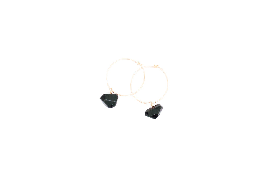 Abstract Onyx Hoop Earrings