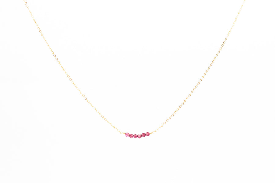Red Garnet Bar Necklace