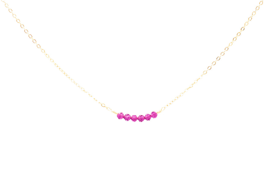 Pink Ruby Bar Necklace
