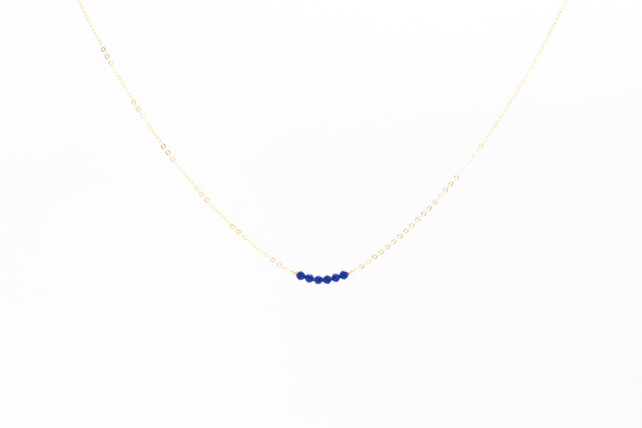 Bright Blue Sapphire Bar Necklace