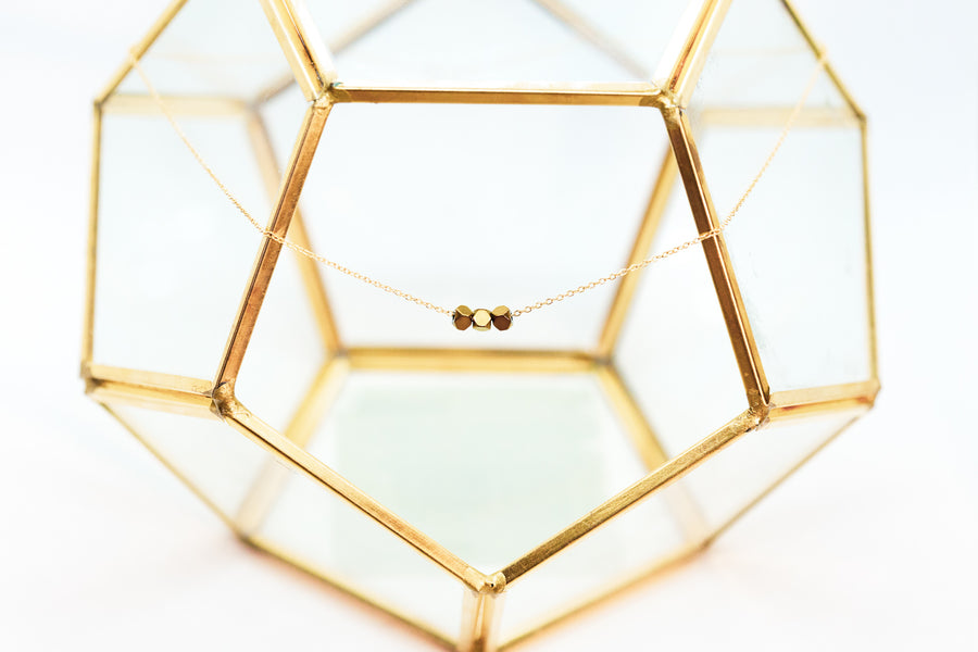 Gold Geometric Bead Necklace