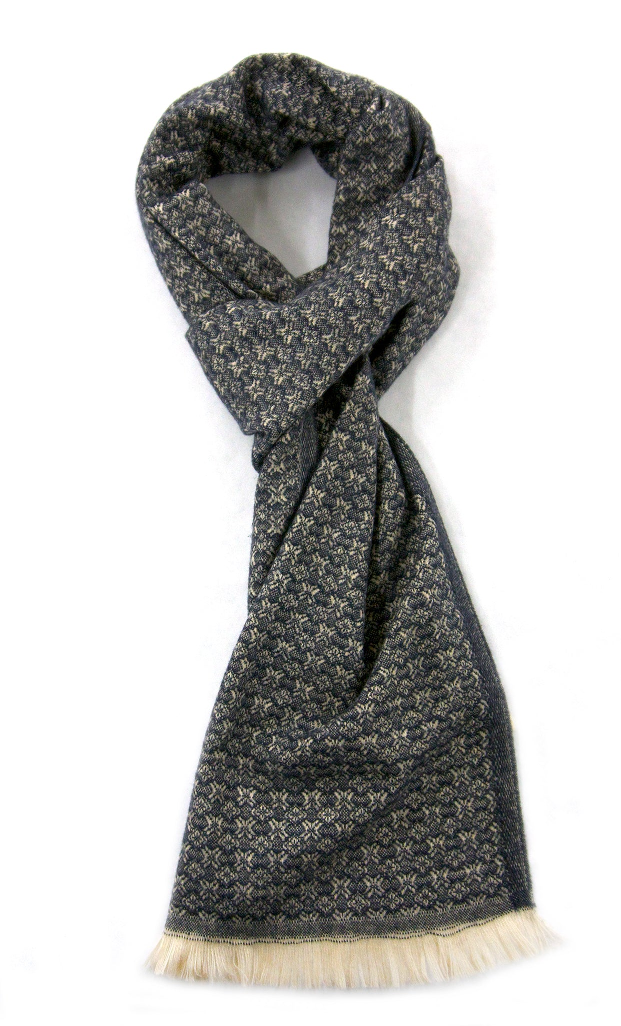 Soft cashmere blend scarf with fine blue and off white fine pattern - Marie-Pierre Rousseau