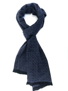 Soft cashmere blend scarf with fine black and blue fine pattern - Marie-Pierre Rousseau