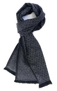 Soft cashmere blend scarf with fine black and white fine pattern - Marie-Pierre Rousseau