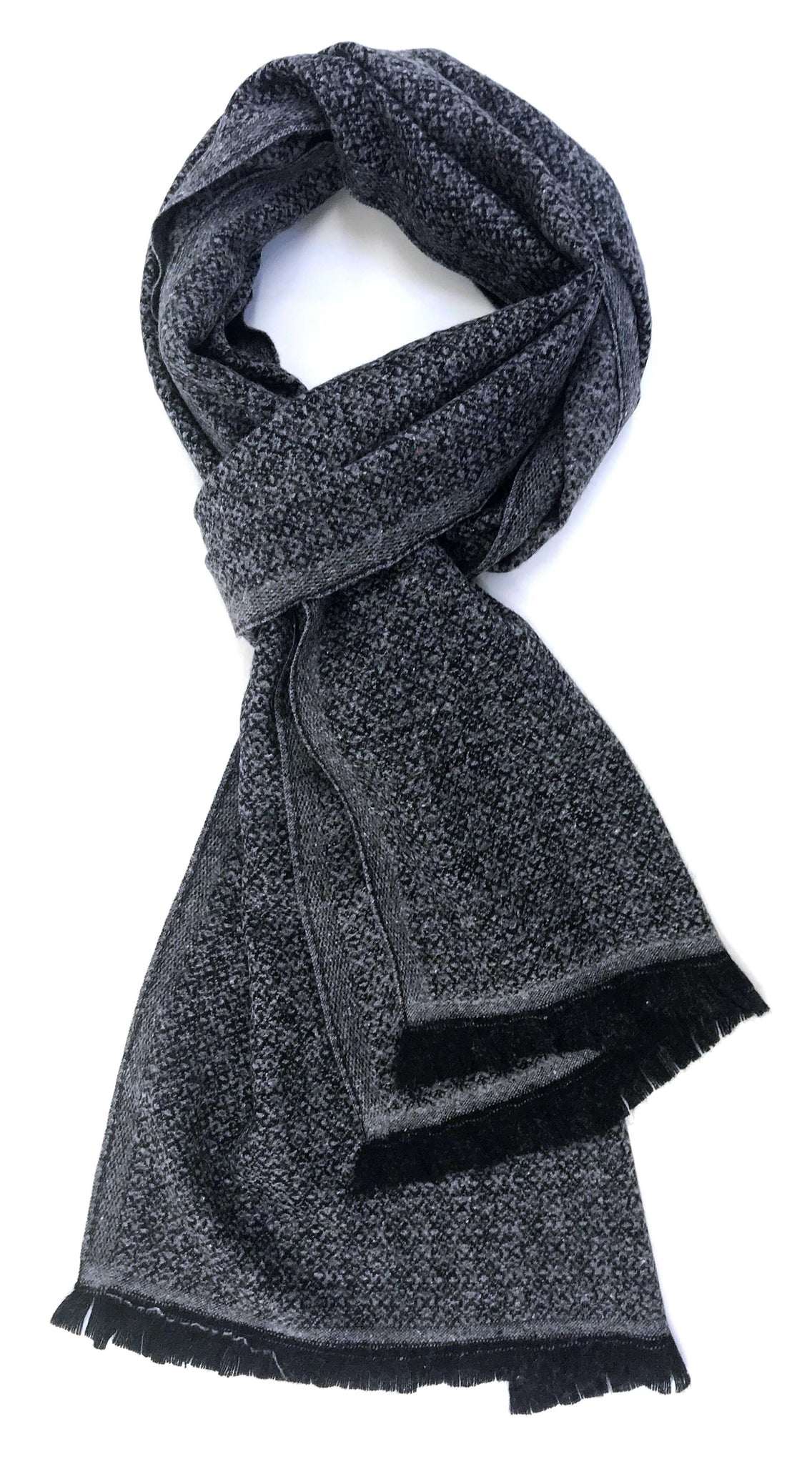 Soft cashmere blend scarf with fine black and grey allover pattern - Marie-Pierre Rousseau