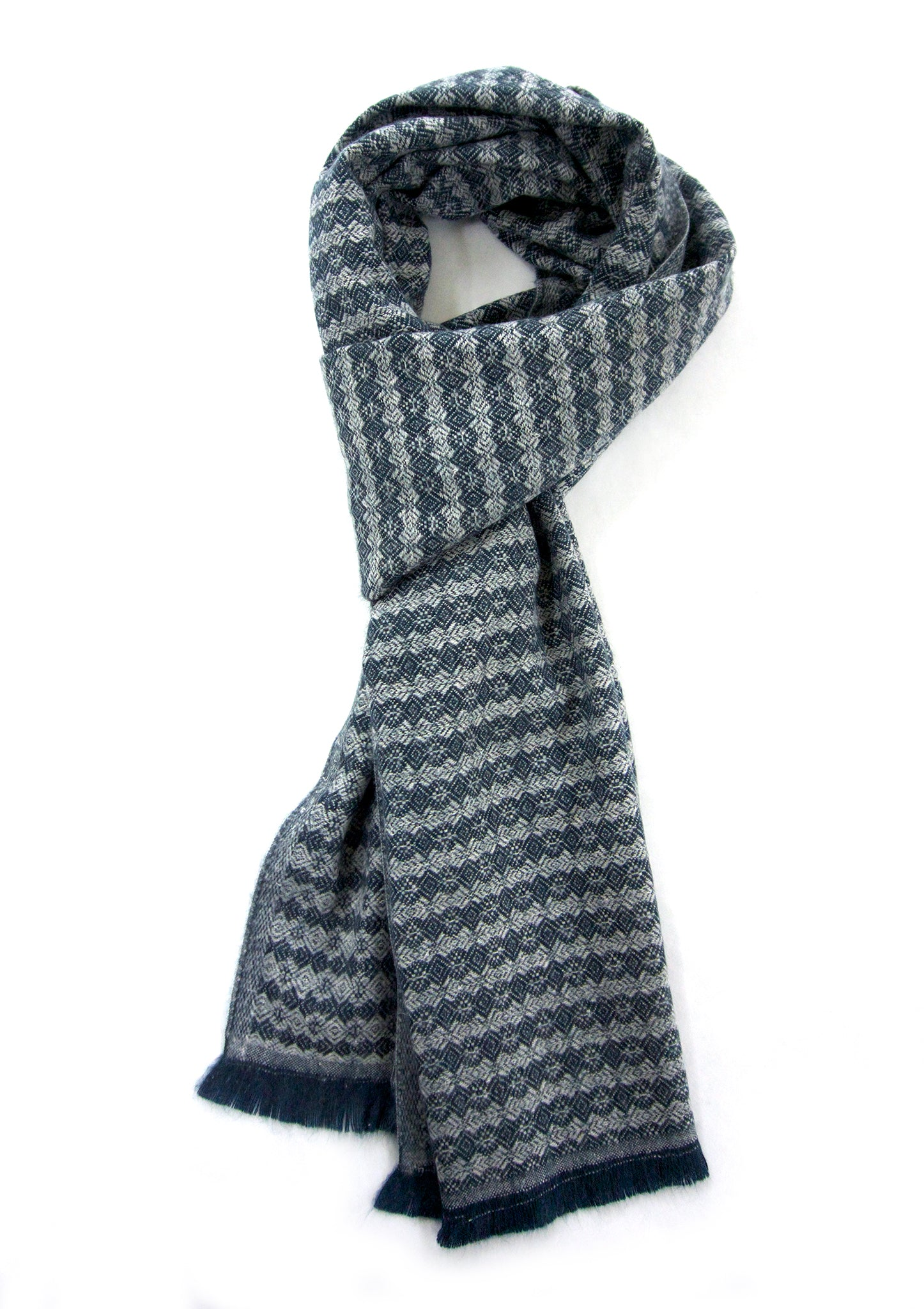Soft cashmere blend scarf with fancy striped pattern in navy and off white - Marie-Pierre Rousseau