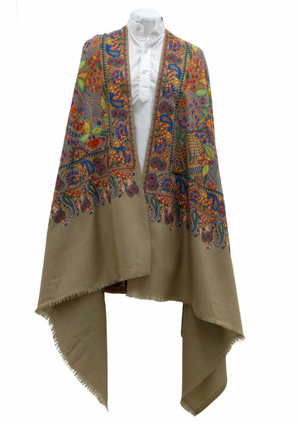 White woolen stole with amazing and wild all over embroidered artwork - Marie-Pierre Rousseau
