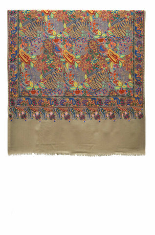 Shawl Embroidered Wool Beige
