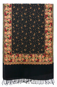 Black classic wool shawl with rich, sophisticated and refined embroidered artwork - Marie-Pierre Rousseau