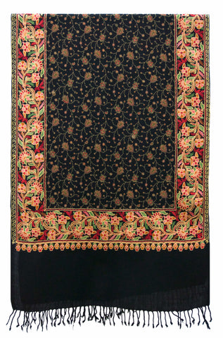 Shawl Embroidered Wool Black Delicate Flower