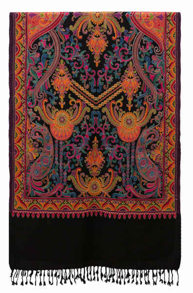 Boho Chic Paisley Embroidered Shawl in Black Wool